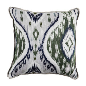Manado Ikat Pewter and Dove 22 x 22 Inch Pillow with Flat Welt