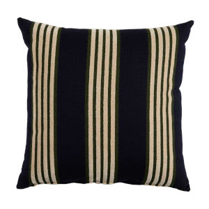 Bradford Stripe Navy and Mallard 22 x 22 Inch Pillow with Knife Edge