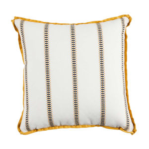 Gingham Stripe Mustard 22 x 22 Inch Pillow with Flat Welt