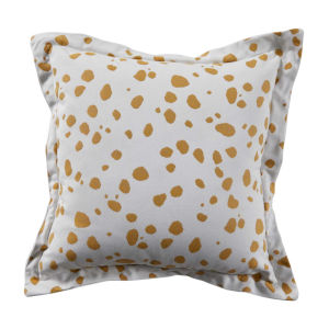 Spotty Mustard 22 x 22 Inch Pillow with Linen Single Flange