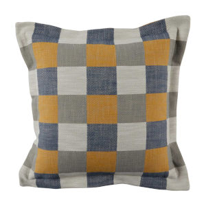 Plaid Mustard 22 x 22 Inch Pillow with Pinstripe Double Flange