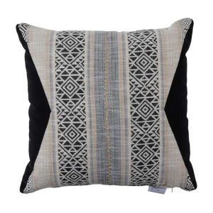 Aztec Pewter and Midnight Velvet 22 x 22 Inch Pillow with Knife Edge