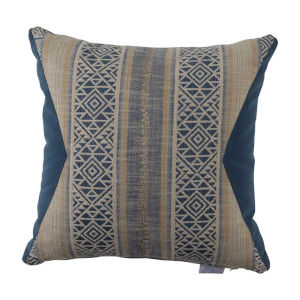 Aztec Indigo and Chambray Velvet 22 x 22 Inch Pillow with Knife Edge