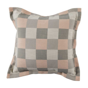 Plaid Blush 22 x 22 Inch Pillow with Pinstripe Double Flange