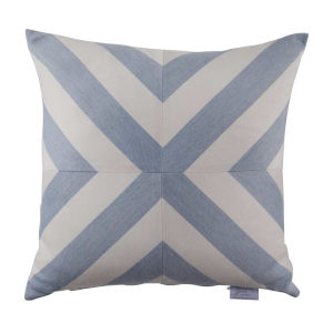 Halo Chambray 22 x 22 Inch X-Stripe Pillow with Knife Edge