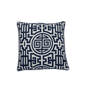 Nobu 24-Inch Indigo Patterned Throw Pillow
