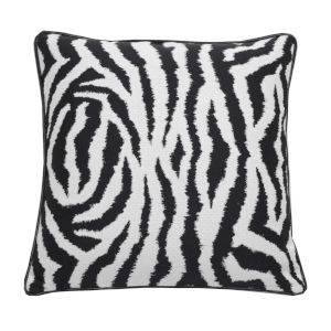 Zebra Midnight 24 x 24 Inch Pillow with Welt