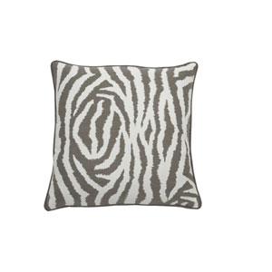 Zebra 24-Inch Pewter and White Throw Pillow