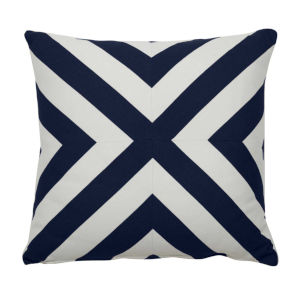 Halo Indigo 24 x 24 Inch X-Stripe Pillow with Knife Edge