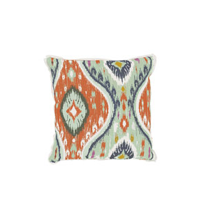 Manado Ikat 24-Inch Cajun and Mist Patterned Throw Pillow