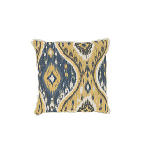 Manado Ikat 24-Inch Mustard Patterned Throw Pillow
