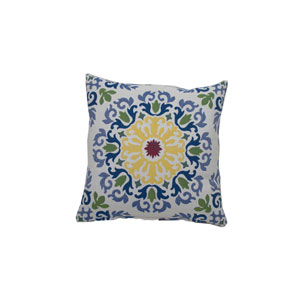 Molto Medallion 24-Inch Mustard and Indigo Throw Pillow