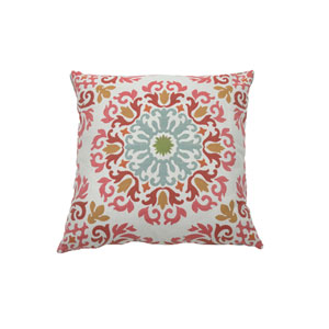 Molto Medallion 24-Inch Cajun and Mist Throw Pillow