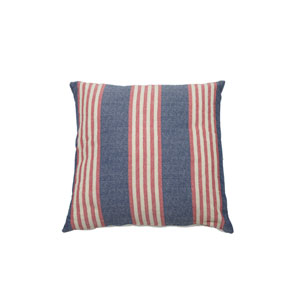 Bradford Stripe 24-Inch Indigo and Flamingo Throw Pillow