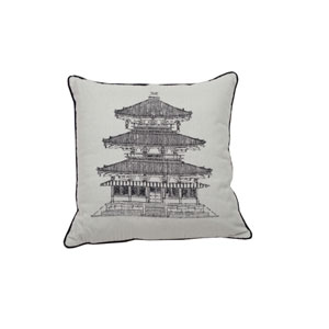 Pagoda Dynasty 24-Inch Midnight and Pewter Throw Pillow