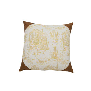 Osaka Toile 24-Inch Mustard and Brown Throw Pillow