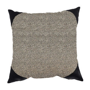 Boucle Shimmer Pepper and Black 24 x 24 Inch Pillow with Corner Cap