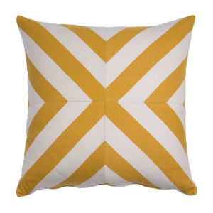 Halo Mustard 24 x 24 Inch X-Stripe Pillow with Knife Edge