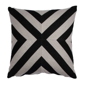 Halo Black and Dove 24 x 24 Inch X-Stripe Pillow with Knife Edge
