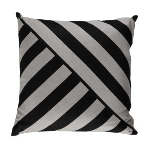 Halo Black and Dove 24 x 24 Inch T-Stripe Pillow with Knife Edge