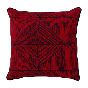 Mandla Cajun and Indigo 24 x 24 Inch Pillow with Linen Welt