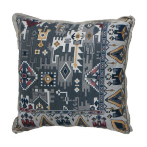 Oushak Indigo and Mustard 24 x 24 Inch Pillow with Linen Flat Welt