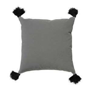 Pewter Velvet and Black 24 x 24 Inch Pillow with Tassel