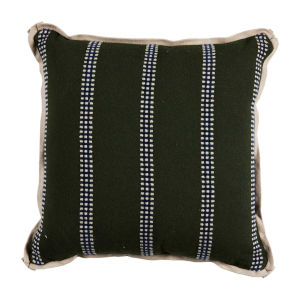 Gingham Stripe Mallard 24 x 24 Inch Pillow with Flat Welt