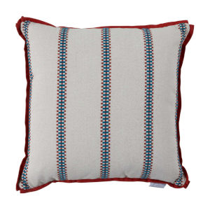 Gingham Stripe Cajun 24 x 24 Inch Pillow with Flat Welt
