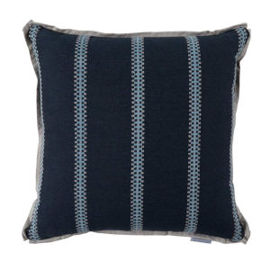 Gingham Stripe Chambray 24 x 24 Inch Pillow with Flat Welt