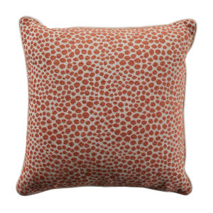 Cheetah Terra Cotta Velvet 24 x 24 Inch Pillow with Linen Welt