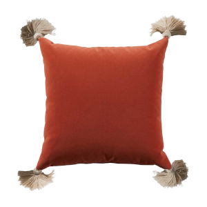 Terra Cotta Velvet and Almond 24 x 24 Inch Pillow with Tassel