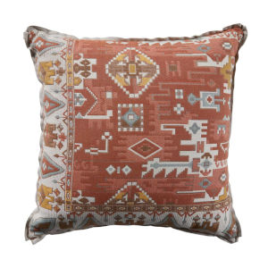 Oushak Terra Cotta and Dove 24 x 24 Inch Pillow with Linen Flat Welt