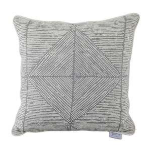 Mandla Pewter and Snow 24 x 24 Inch Pillow with Linen Welt