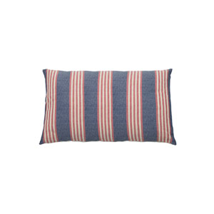 Bradford Stripe 24-Inch Indigo and Flamingo Rectangle Throw Pillow