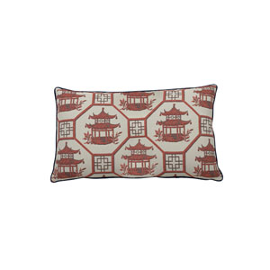 Pagoda Scene 24-Inch Cajun Patterned Throw Pillow