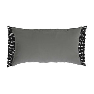 Pewter Velvet and Black 14 x 24 Inch Pillow with Bullion