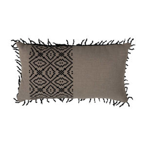 Tribal Stripe Midnight 14 x 24 Inch Pillow with Rope Loop Trim