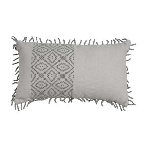 Tribal Stripe Pewter 14 x 24 Inch Pillow with Rope Loop Trim