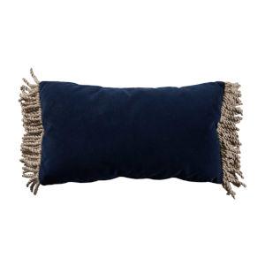 Navy Velvet and Almond 14 x 24 Inch Pillow with Bullion