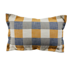 Plaid Mustard 14 x 24 Inch Pillow with Pinstripe Cord