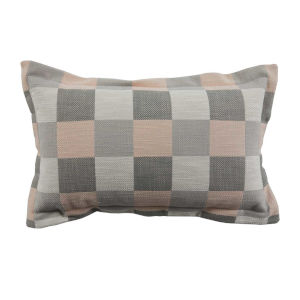 Plaid Blush 14 x 24 Inch Pillow with Pinstripe Cord
