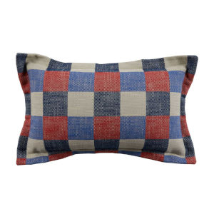 Plaid Cajun and Indigo 14 x 24 Inch Pillow with Pinstripe Cord