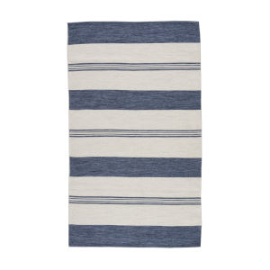 Wide Stripe Navy Rectangular 7 Ft. 10 In. x 9 Ft. 10 In. Rug