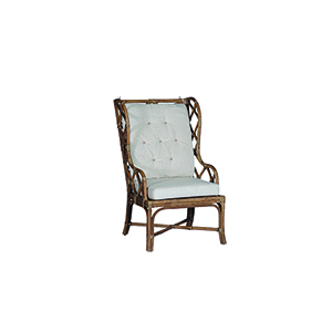 Watson Antique Rattan and Beige Linen Dining Chair