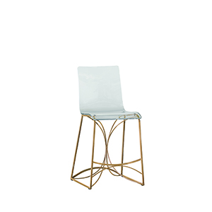 Angela Antique Gold and Clear Acrylic Counter Stool