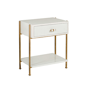 Jolene Faux Bone and Antique Gold Metal Side Table