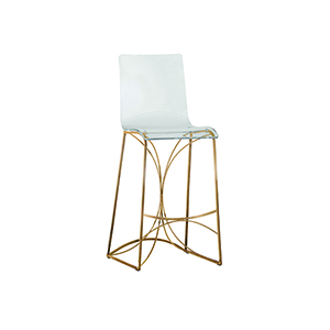 Angela Antique Gold and Clear Acrylic Bar Stool