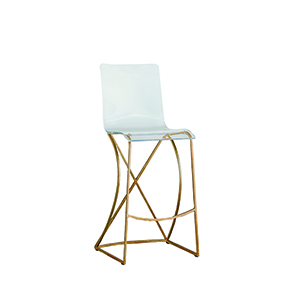 Johnson Antique Gold and Clear Acrylic Bar Stool