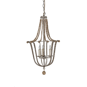 Jenna Anitque Silver and Gold Leaf with Chipped White Chandelier